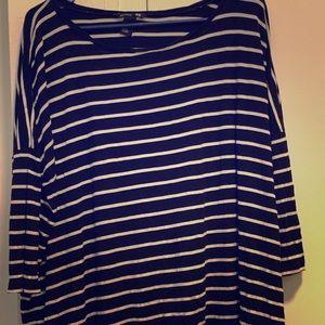 H&M Striped 3/4 Length Sleeve Tunic XL